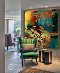 Landscape Painting / Large Original Abstract Oil Painting / Colorful Acrylic Canvas Art / Oversize O Blue Painting, Large Painting, Oil Painting Abstract, Abstract Canvas, Acrylic Canvas, Canvas Art, Modern Oil Painting, Diy Canvas, Painting Canvas