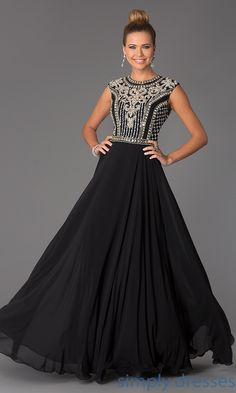 Shop SimplyDresses for long sleeveless dresses and beaded evening gowns for prom or formal. Long beaded prom dress by Jovani JVN24413.