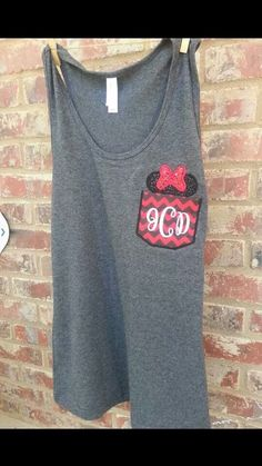 Love this for family vacation shirts.  Minnie pocket racerback tank top by SimplySplendid12 on Etsy, $23.00