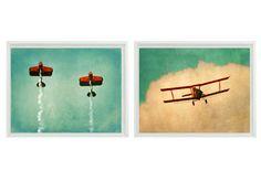 Vintage Airplane Art Print Set - SALE 30% OFF Plane Nursery Boys Room Red Aqua Biplane Flying Aviation Home Decor Photograph. $35.00, via Etsy.