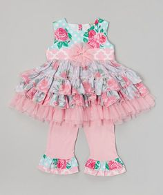 Look what I found on #zulily! Pink Floral Tulle Ruffle Top & Pants- Infant, Toddler & Girls #zulilyfinds