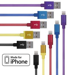 Lightning Cable for iPhone 5 Pack (3.3 Feet) in Black, Purple, Blue, Yellow and Red - Cable w/ Lightning Connector - Lightning to USB cable / Cord for iPhone Compatible with iPhone 6 & 5