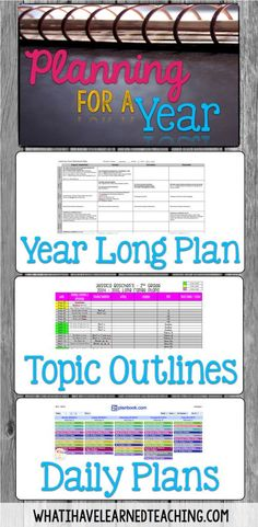 Planning for Next Year: Organizing the Year, the Day's Topics & Lesson Plans is about how to do long term planning and translate it into short term planning. Organize your lessons, plan your curriculum, and see the big picture and small picture of your ye Teacher Organization, Teacher Tools, Teacher Resources, Organized Teacher, Teacher Planner, Teacher Lesson Plans, Planner Organization, Lesson Plan Organization, School Planner
