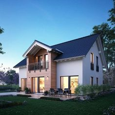 Fertighaus mit Satteldach – Einfamilienhaus Lifestyle 9 – massa haus Prefab house with saddle roof – Detached house lifestyle 9 – massa house Dream House Exterior, Sims House, Prefab Homes, Interior Exterior, Home Decor Styles, Detached House, Villas, Future House, Home Fashion