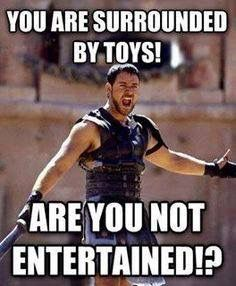 I immediately thought of Andy when I saw this. The boy would rather be getting into trouble than playing with any of his toys.
