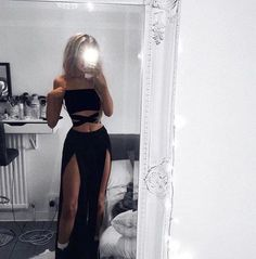 Cute Two Piece Balck Charming Prom Dress – Moda Teenage Girl Outfits, Outfits For Teens, Summer Outfits, Mode Outfits, Fashion Outfits, Punk Fashion, Lolita Fashion, Denim Outfits, Club Outfits