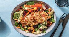 Cheesy Hasselback Chicken Capsicum Relish Roast Veggie Recipe   HelloFresh Stromboli, Veggie Recipes, Chicken Recipes, Roasted Veggies Recipe, Hasselback Chicken, Pesto Dressing, Hello Fresh Recipes, Creamy Pesto, Recipes