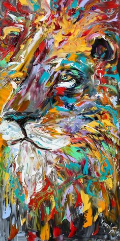 Lion 20 x 40 Gallery Quality Giclee Print on by Karensfineart