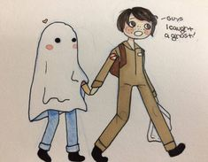 "5,145 Likes, 34 Comments - Nickyoung (@stranger_fanart011st) on Instagram: ""Aww Mike caught a ghost during trick or treating for Halloween. Art by @iamtiredandtrash…"""