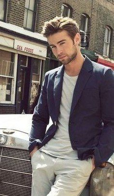 tee with casual blazer and chinos- classic casual look