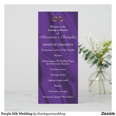 Shop Purple Silk Wedding Program created by theelegantwedding. Purple And Gold Wedding, Gold Wedding Rings, Crystal Wedding, Unique Wedding Programs, Ceremony Programs, Wedding Prayer, Opening Prayer, Unity Candle, Wedding Ceremony Decorations