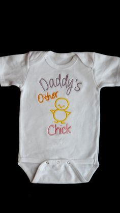 Girl Onesie Embroidered Baby Girl Clothes with Daddy's Other Chick Onesie on Etsy, $16.00