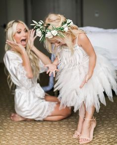 Fabulous fairy flower girl trying on high heels!