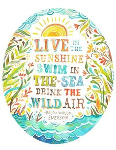 """""""Live in the Sunshine. Swim in the Sea. Drink the Wild Air.""""  Words of wisdom to live by."""