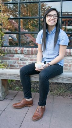 The button up, and shoes give this a queer style.