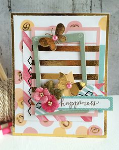 ~ happiness ~ - Scrapbook.com - Create unique foil embellishments using Therm O Web's Deco Foil adhesive and Foil sheets.