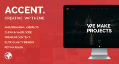 "Accent - Creative Responsive WordPress Theme by WpWay_ A few words about ""Accent"" ""Accent"" is a truly one page WordPress Theme with modern, elegant, intuitive and fully responsive desig"