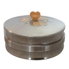 Image of Art Deco Metal & Glass Heart Finial Box