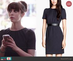 Zelda's black textured dress with short sleeves on A to Z.  Outfit Details: http://wornontv.net/39506/ #AtoZ