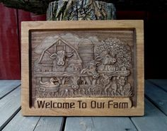 """Welcome To Our Farm!!  Plaque measures 12""""x 14.5""""  Each of our signs is individually carved and crafted in 100% real wood. We use only the finest, select, woods available. We have added two sawtooth hangers for your convenience and fast display! This ..."""