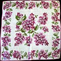 Vintage Irish linen handkerchief - pink lilacs