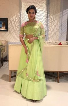 Amala Paul was seen wearing a green ‎Arpita Mehta attire.