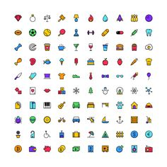 There are 100 uniquely designed icons in the free Funkies icon set, and they come in five different styles: flat, full color, gradient, shaded and subtle color. Icon Design, Web Design, Simple Mobile, Free Graphics, Pictogram, Icon Set, Pixel Art, Infographic, Fonts