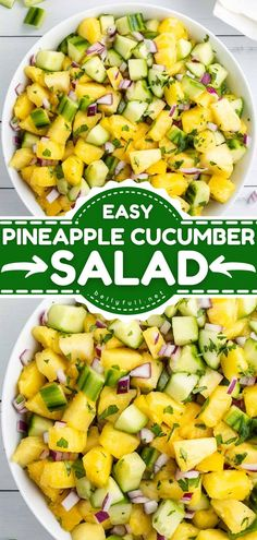 Fresh fruit takes center stage in this summer salad! This Pineapple Cucumber Salad recipe is so easy to make and comes together in just 15 minutes. Delicious and refreshing, it is the perfect side dish for BBQs! Salad Dressing Recipes, Salad Recipes, Fruit Recipes, Apple Recipes, Pork And Beef Recipe, Beef Recipes, Best Side Dishes, Side Dish Recipes, Dinner Recipes
