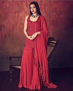 Red georgette heavy embroidered threadwork bollywood sharara salwar suit - Sarara fabric:-Georgette(full stitch)Sarara Inner Fabrice:-SilkSarara Colour:-MaroonSarara Sarara to Work:-Ready Fancy LaceSarara MtrTop Fabri Indian Bridal Wear, Indian Wedding Outfits, Indian Wear, Indian Outfits, Ethnic Outfits, Sarara Dress, Lehnga Dress, Sharara Suit, Salwar Kameez
