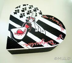 Boite Coeur Bretagne Amour Bigouden rouge noir blanc : Boîtes, coffrets par milid
