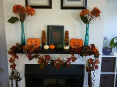 Halloween/Fall fireplace decor