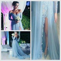 Sexy Split Prom Dresses,Off Shoulder Prom Dresses,Long Prom Dresses,Long sleeves Prom Dresses - Thumbnail 1