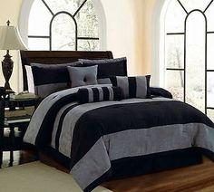7 PC Black & Grey Micro Suede Striped Comforter Set, Twin through Cal King Sizes