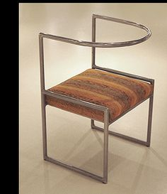 """Marcel-Louis Baugniet Modernist chair  c.1927 Bent-nickel plated tubular steel frame, fabric upholstery, wood frame H: 30 ½ """" x   W: 20 ½""""  x  D: 18"""""""
