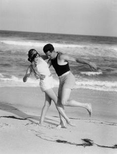 A Couple in Bathing Costumes Frolic on a Beach, Circa 1965 Photographic… Vintage Photographs, Vintage Photos, Foto Vintage, Jean Christophe, Black And White Beach, Bathing Costumes, Beach Posters, Couple Beach, Couple Pics