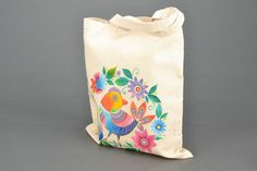 Homemade painted fabric bag
