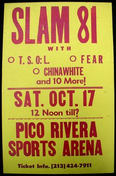 SLAM 81 Pico Rivera Sports Arena PUNK Cardboard CONCERT POSTER TSOL FEAR