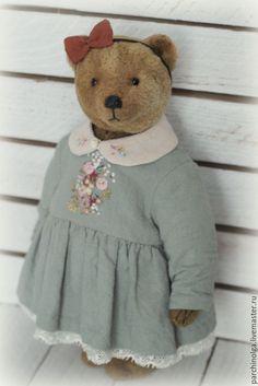 Купить Мамина дочка...еще одна - коричневый, серо-голубой, мишка, мишка тедди, тедди медведи
