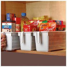 Rakuten.com:Get Organized|Kitchen Cabinet Shelf Pantry Cupboard Tamer Storage Basket with Handle  $7.98