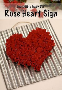 Rustic DIY rose heart sign
