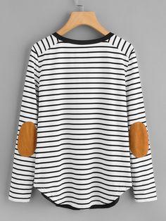 b874525b9da3 T-shirt rayure avec détail de pièce au coude -French SheIn(Sheinside)