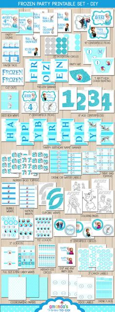 Frozen Party Printable - Frozen Birthday - Elsa and Anna Party -Huge Party Set by Amanda's Parties TO GO by AmandasPartiesToGo on Etsy