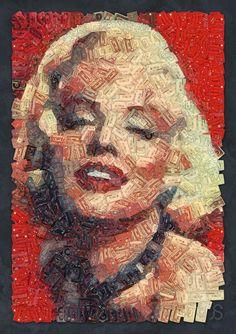 •Marilyn Monroe [portrait mosaic made of 2000 retro audiotapes] by Arseny Samolevsky