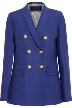 J.Crew - Irene wool and silk-blend faille blazer - J.Crew s  Irene  blazer is made from lightly structured wool and silk-blend faille in a vibrant royal-blue hue. Tailored for a boxy fit, it s embellished with statement gold buttons that are embossed with a coat of arms. We ll be wearing ours with the brand s patchwork pants .