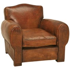 French Leather Club Chair | From a unique collection of antique and modern club chairs at https://www.1stdibs.com/furniture/seating/club-chairs/