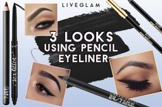 Sick of liquid eyeliner? 3 Easy Eyeliner Looks You Can Do With an Eye Pencil! Perfect Winged Eyeliner, Simple Eyeliner, Eyeliner Looks, Pencil Eyeliner, Pro Makeup Tips, Beauty Hacks Eyeliner, Eyebrow Makeup, Beauty Hacks Before Bed, Beauty Blender Video