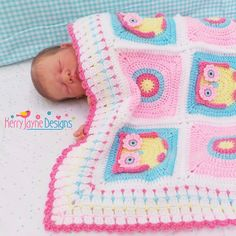 CROCHET PATTERN Kerry's Owl Blanket Crochet Pattern with beautiful photo tutorial and easy instructions. This colorful Owl blanket would make a beautiful little Crochet Owl Blanket Pattern, Bunting Pattern, Crochet Owls, Crochet Bebe, Baby Blanket Crochet, Crochet Yarn, Crochet Blankets, Owl Bunting, Owl Crochet Patterns