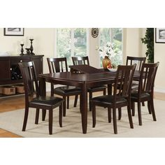 Shop for Ortaca Deep Brown Wood Finished 7-piece Dining Set. Get free delivery…