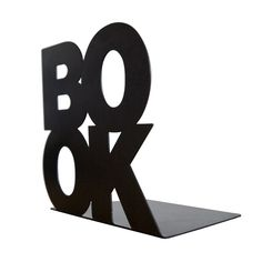 Modern stylish bookend BookOne black or white powder coated laser cut metal thick enough to hold books. €19,00, via Etsy.