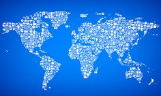 Technology icon cloud world map